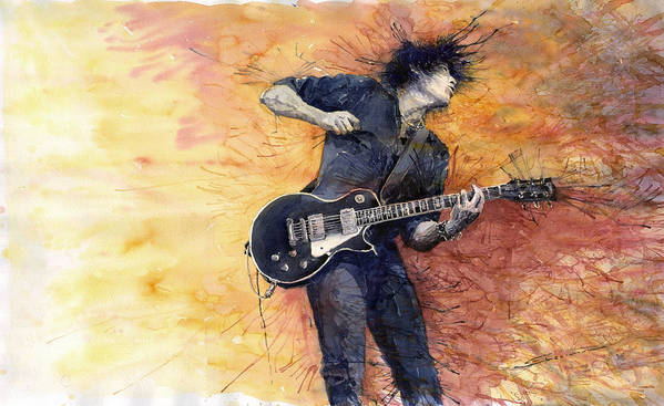 Figurativ Poster featuring the painting Jazz Rock Guitarist Stone Temple Pilots by Yuriy Shevchuk