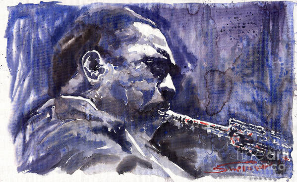 Jazz Poster featuring the painting Jazz Saxophonist John Coltrane 01 by Yuriy Shevchuk
