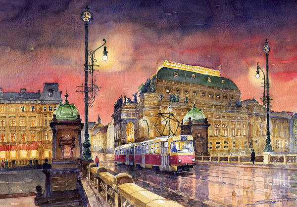 Bridge Poster featuring the painting Prague Night Tram National Theatre by Yuriy Shevchuk