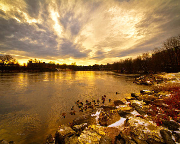 Androscoggin River Poster featuring the photograph Androscoggin River Between Lewiston And Auburn by Bob Orsillo