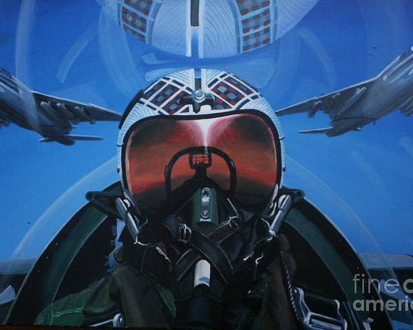F8 Poster featuring the painting Colonel Dave Dollarhide by Richard John Holden RA