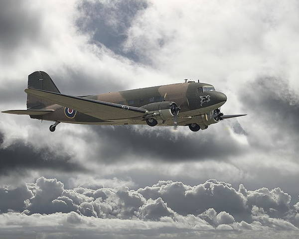 Aircraft Poster featuring the digital art  Dc3 Dakota  Workhorse by Pat Speirs