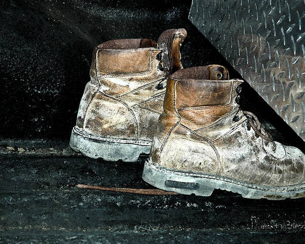 Still Life Poster featuring the photograph His Work Boots by Marvin C Brown