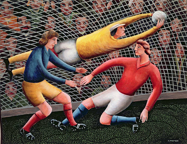 Football; Nets; Goal; Keeper; Crowd; Tackle Poster featuring the painting It's A Great Save by Jerzy Marek