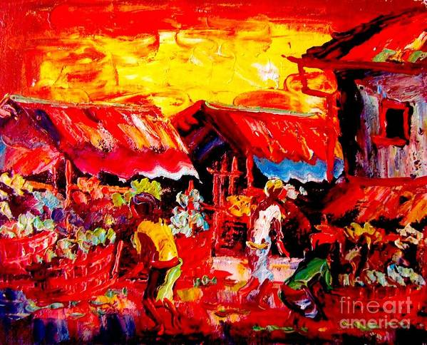 Bali Pictures Poster featuring the mixed media Market by Yelena Wilson
