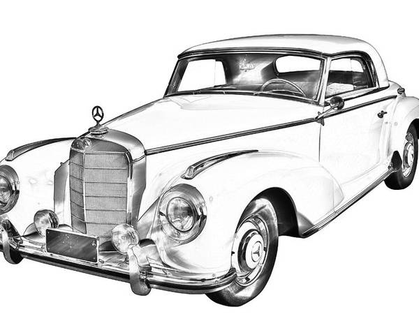 Mercedes Benz 300 Luxury Car Drawing Poster By Keith Webber Jr