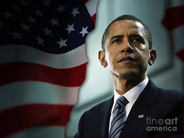 President Barack Obama Paintings Mixed Media Poster featuring the mixed media President Barack Obama by Marvin Blaine