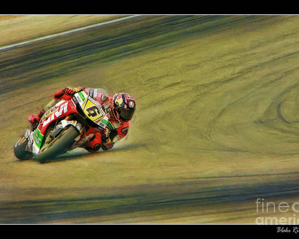 Stefan Bradl Poster featuring the photograph Stefan Bradl Uses His Elbow by Blake Richards