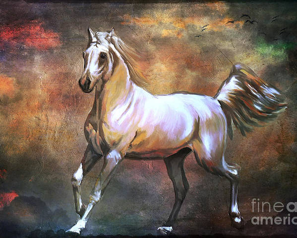 Horse Poster featuring the digital art Wild Horse. by Andrzej Szczerski