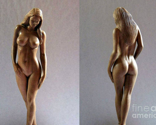 Naked Woman Wood Sculpture Poster featuring the sculpture Wood Sculpture Of Naked Woman by Ronald Osborne