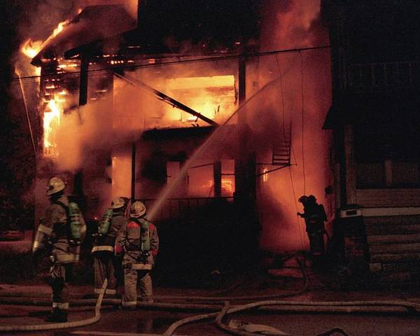 Fire Poster featuring the photograph 071506-4 Cleveland Firefighters On The Job by Mike Davis