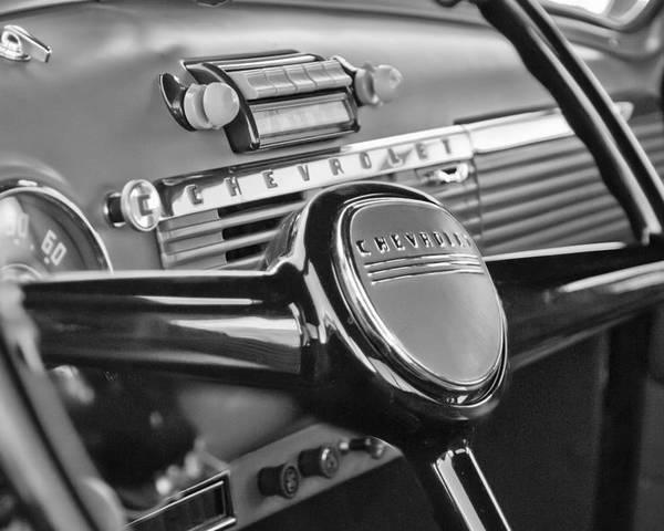 1950 Chevrolet 3100 Pickup Truck Steering Wheel Poster featuring the photograph 1950 Chevrolet 3100 Pickup Truck Steering Wheel by Jill Reger