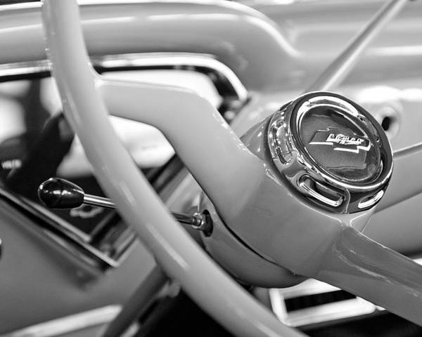1957 Chevrolet Cameo Pickup Truck Steering Wheel Emblem Poster featuring the photograph 1957 Chevrolet Cameo Pickup Truck Steering Wheel Emblem by Jill Reger