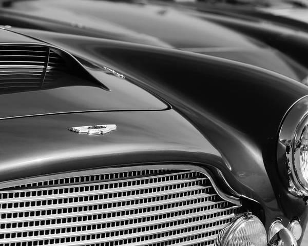 1960 Aston Martin Db4 Series Ii Grille - Hood Emblem Poster featuring the photograph 1960 Aston Martin Db4 Series II Grille - Hood Emblem by Jill Reger