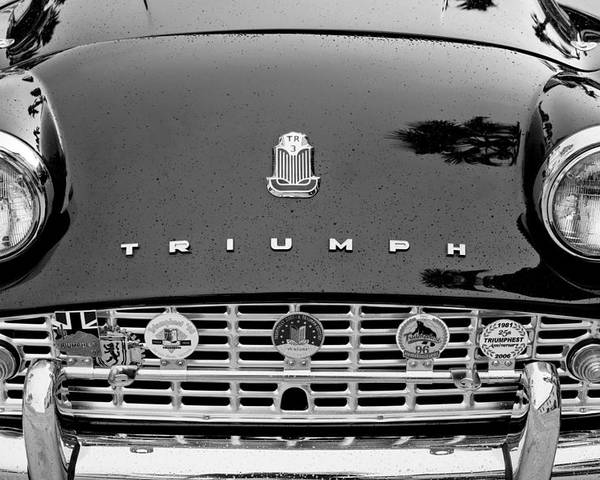 1960 Triumph Tr 3 Grille Emblems Poster featuring the photograph 1960 Triumph Tr 3 Grille Emblems by Jill Reger