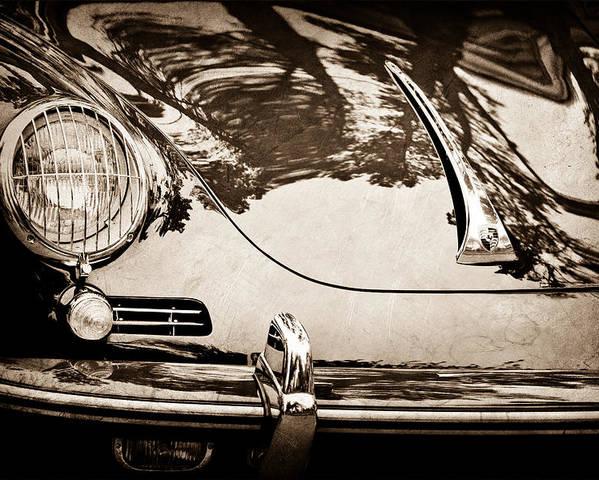 1963 Porsche 356 B Cabriolet Hood Emblem Poster featuring the photograph 1963 Porsche 356 B Cabriolet Hood Emblem by Jill Reger