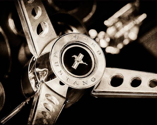 1969 Ford Mustang Mach 1 Steering Wheel Poster featuring the photograph 1969 Ford Mustang Mach 1 Steering Wheel by Jill Reger