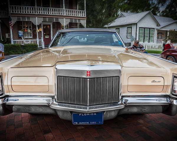 1971 Lincoln Poster featuring the photograph 1971 Lincoln Continental Mark IIi Painted by Rich Franco