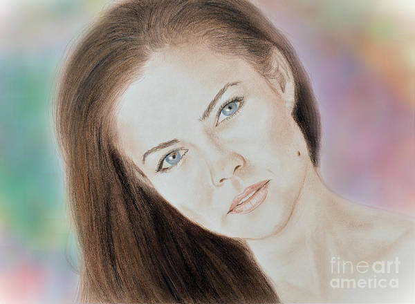Model Poster featuring the drawing Actress And Model Susan Ward Blue Eyed Beauty With A Mole by Jim Fitzpatrick