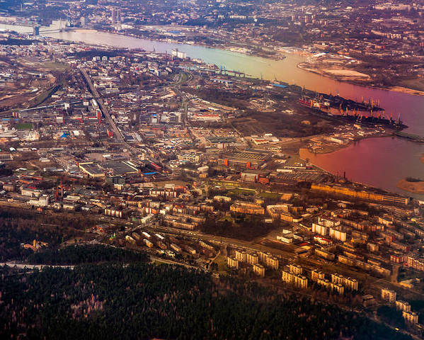 Aerial Poster featuring the photograph Aerial View Of Riga. Latvia. Rainbow Earth by Jenny Rainbow