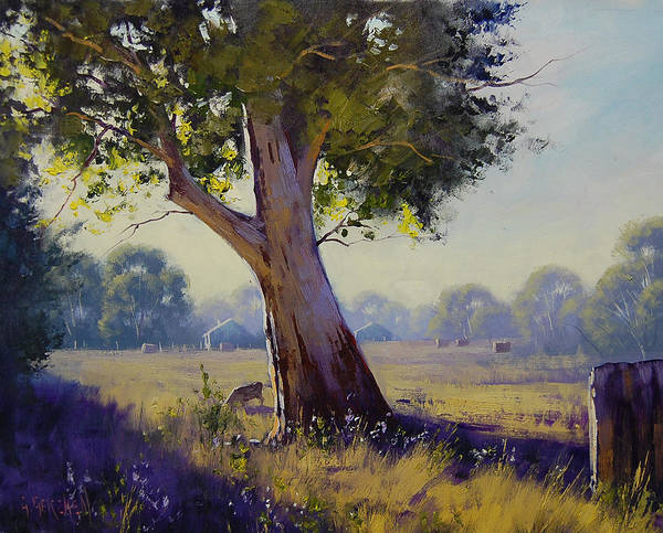 Farm Poster featuring the painting Afternoon Light Grazing by Graham Gercken