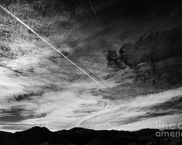 Aircraft Poster featuring the photograph Aircraft Contrail With Shadow On Lower Cloud Nevada Usa by Joe Fox