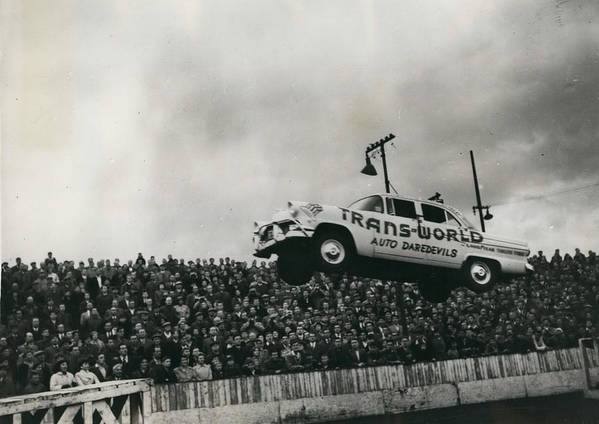 retro Images Archive Poster featuring the photograph American Stunt Car Drivers Give Displays In Edinburgh by Retro Images Archive