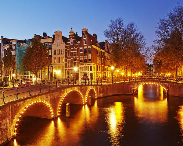 Amsterdam Poster featuring the photograph Amsterdam - Old Houses At The Keizersgracht In The Evening by Olaf Schulz