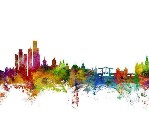 Amsterdam Poster featuring the digital art Amsterdam The Netherlands Skyline by Michael Tompsett