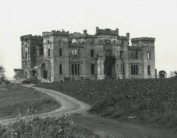 retro Images Archive Poster featuring the photograph Ancient Castle Goes Up In Smoke. Blown Up By 500 Of by Retro Images Archive
