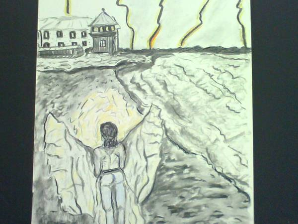 Angel Poster featuring the mixed media Angel In A Storm by Suzanne Berthier