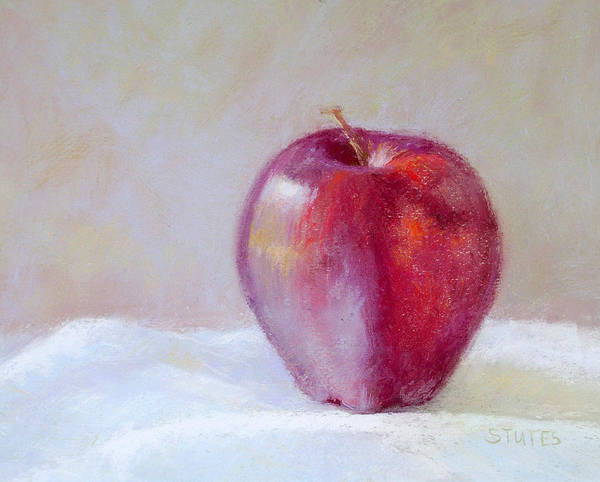 Still Life Poster featuring the drawing Apple by Nancy Stutes