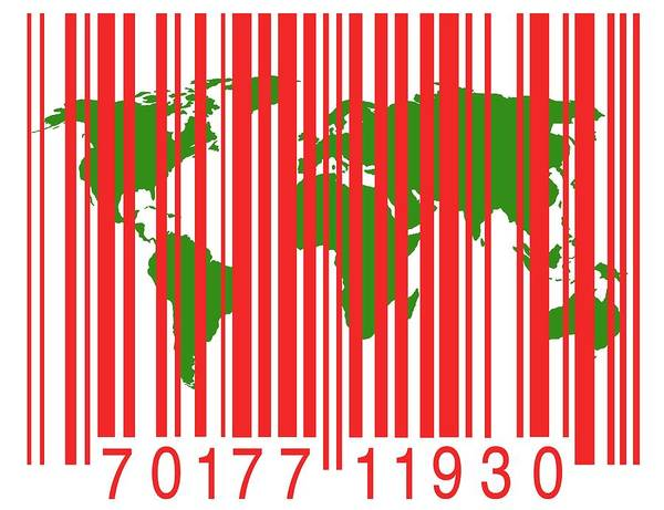 Artwork Poster featuring the photograph Bar Code With The World Map by Victor De Schwanberg