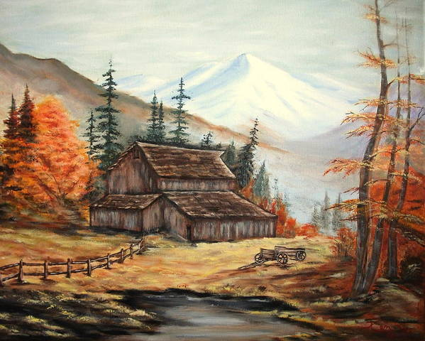 Landscape Poster featuring the painting Barn and wagon by Kenneth LePoidevin