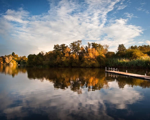 Landscape Poster featuring the photograph Beautiful Sunset Over Autumn Fall Lake With Crystal Clear Reflec by Matthew Gibson