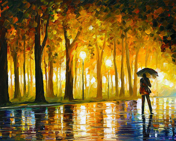 Bewitched Poster featuring the painting Bewitched Park by Leonid Afremov