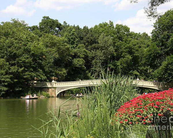 Bow Bridge Poster featuring the photograph Bow Bridge Over The Lake by Christiane Schulze Art And Photography