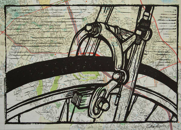 Printmaking Poster featuring the drawing Brake On Map by William Cauthern