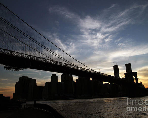 Wtc Poster featuring the photograph Brooklyn Bridge Sunset by Steven Spak