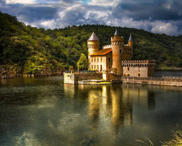 Clouds Poster featuring the photograph Chateau De La Roche by Debra and Dave Vanderlaan