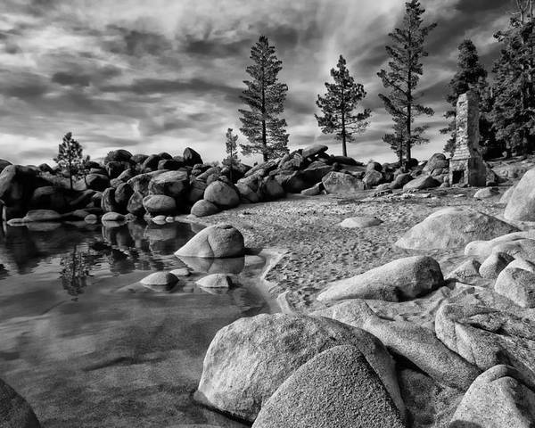 Black And White Poster featuring the photograph Chimney Beach Lake Tahoe by Scott McGuire