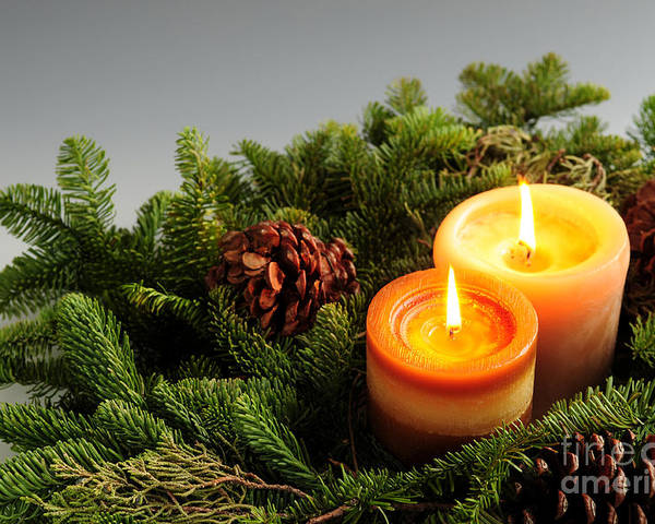 Candle Poster featuring the photograph Christmas Candles by Elena Elisseeva