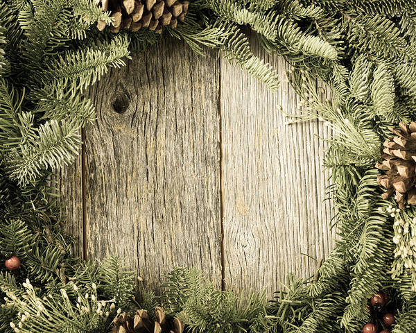 Advent Poster Featuring The Photograph Christmas Wreath With Rustic Wood Background By Brandon Bourdages