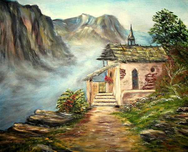 Landscape Poster featuring the painting Church in the Alps by Kenneth LePoidevin