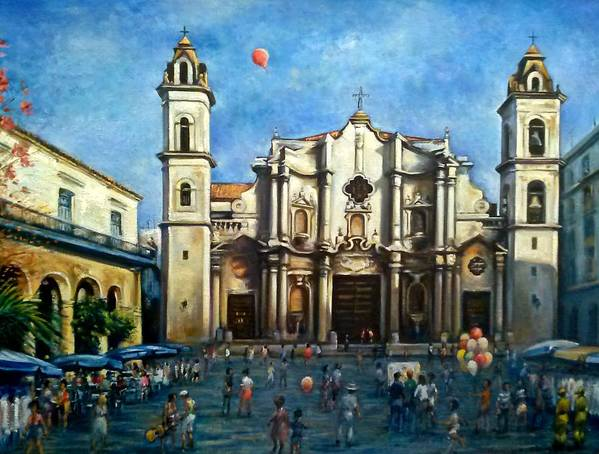 Cuba Poster featuring the painting Church Square Havana by Philip Corley