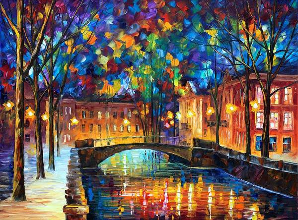 Afremov Poster featuring the painting City Bridge by Leonid Afremov