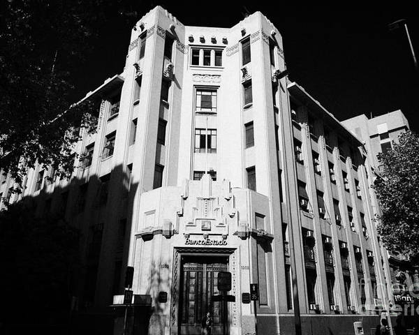 Closed Poster featuring the photograph closed branch of banco estado the state bank Santiago Chile by Joe Fox