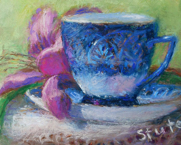 Still Life Poster featuring the drawing Coffee And Flowers by Nancy Stutes