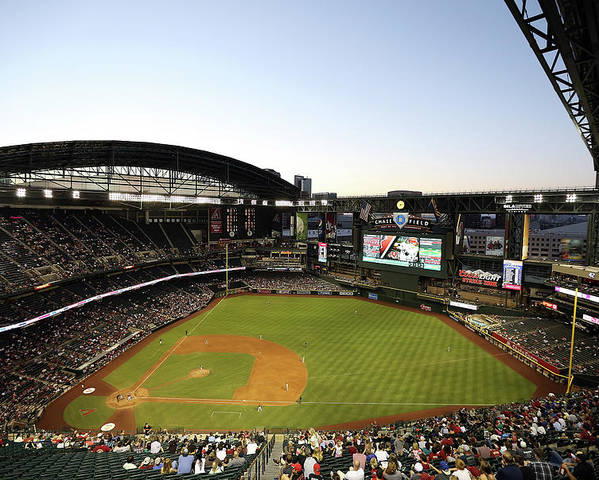 Motion Poster featuring the photograph Colorado Rockies V Arizona Diamondbacks by Christian Petersen