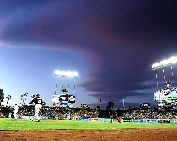 Ball Poster featuring the photograph Colorado Rockies V Los Angeles Dodgers by Harry How